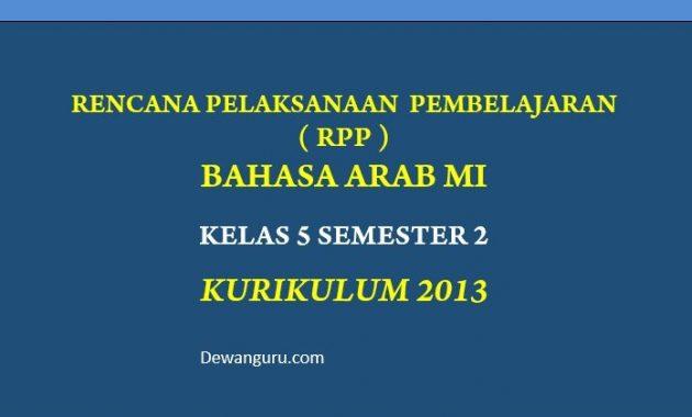 rpp bahasa arab mi kelas 5 semester 2 kurikulum 2013