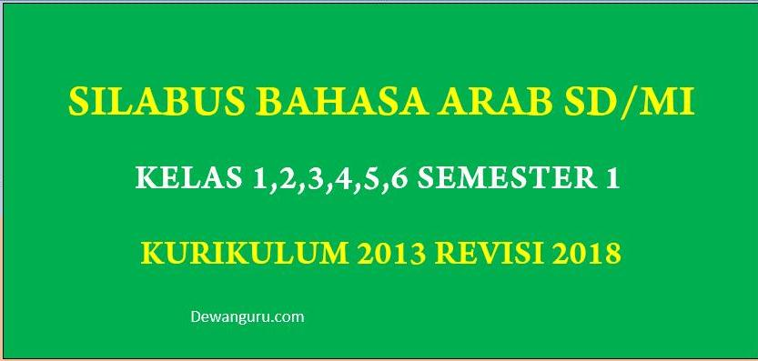 Silabus Bahasa Arab Mi Kelas 1 2 3 4 5 Dan 6 K13 Semester 1