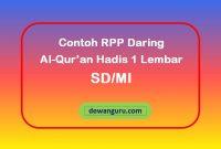 contoh rpp daring al-qur'an hadis 1 lembar sd-mi