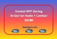 rpp al-qur'an hadis 1 lembar daring kelas 2 sd-mi