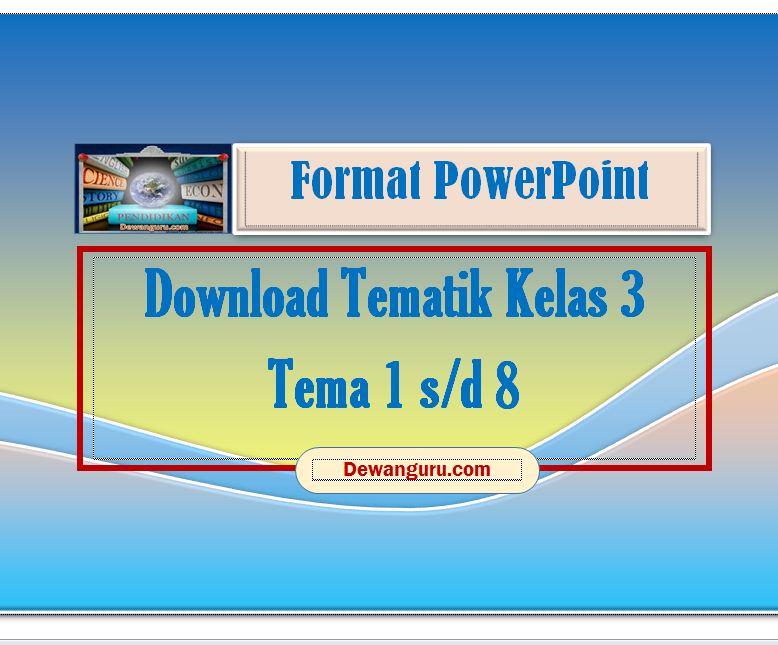 Download Tematik Powerpoint Kelas 3 Tema 1 8 Dewanguru Com