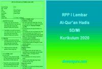 rpp 1 lembar al-qur'an hadis sd-mi kurikulum 2020