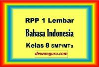 rpp bahasa indonesia 1 lembar kelas 8 smp-mts