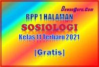 rpp 1 halaman sosiologi kelas 11 terbaru 2021 gratis