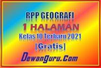 rpp geografi 1 halaman kelas 10 terbaru 2021 gratis