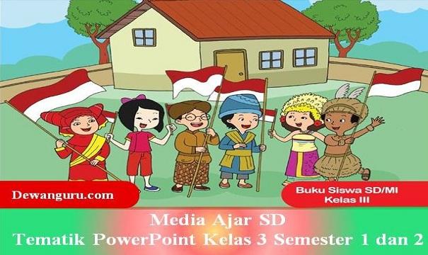 Media Ajar SD Tematik PowerPoint Kelas 3 Semester 1 dan 2